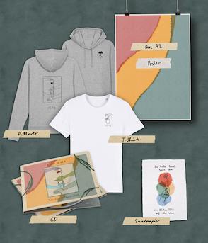 "Kombi-Bundle: CD ""Nie zur selben Zeit"" handsigniert | Print | T-Shirt | Kapuzenpullover"